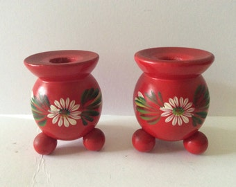 Pair Red Wood Candlesticks - Sweden Danish Design - Tole Ware White Flowers - Cottage Decor - Vintage - Red Kitchen - Dining Room