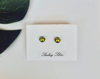 Tiny Gold dichroic glass studs - fused glass studs on sterling silver