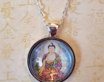 Medicine Buddha pendant,  silver chain
