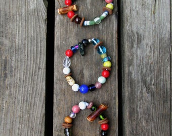 Clay beaded stacking bracelets, set of 3