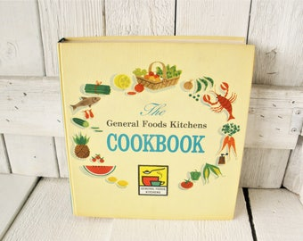 Vintage cook book Genral Foods Kitchen recipes menus retro color food photos 1959 first printing