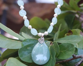 Light Green Jade Pendant and Beads with White Freshwater Pearls
