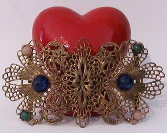 Vintage Antique Estate Gold Brass Filagree Belt Buckle / Hat Decoration Blue Rhinestone Ornate Floral Gorgeous