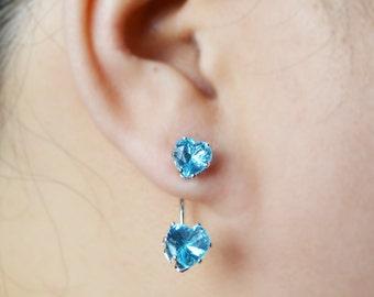 Blue Heart Geometric Ear Jacket Earrings