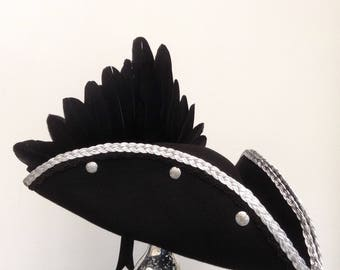 Steampunk Gothic black and silver Raven pirate hat
