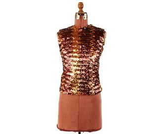 Vintage 1960's Glentex Metallic Copper + Gold Full Sequin Zig Zag Pattern Evening Blouse Shirt M