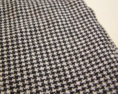 "17"" x 18"" Vintage 100% Wool 1/4"" Houndstooth Check Black and Winter White"