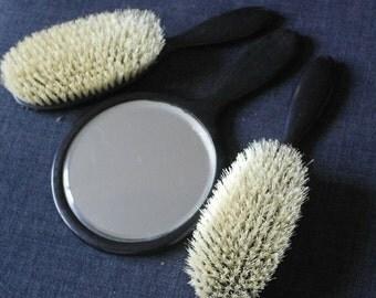 antique ebony wood hand mirror and brush set