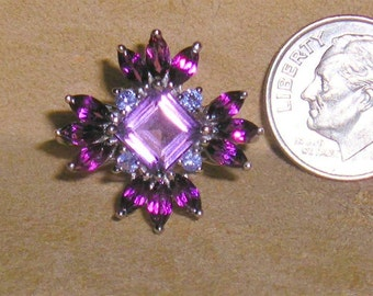 Vintage Sterling Silver Ring With Marquise Cut Amethyst Stones 1970's Size 6 Signed Jewelry 3112