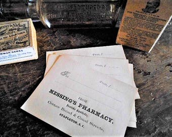 5 Victorian Original Blank Pharmacy Apothecary Perscription Druggist Labels