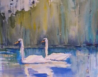 Watercolor Painting Swans Original Art Pond Lake Nature Art  CarlottasArt