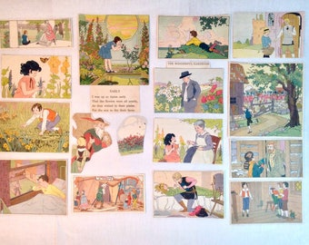 Antique Basic Readers Color Picture Clippings Indoors and Outdoors 16 Pieces Flowers Children and Lessons Learned