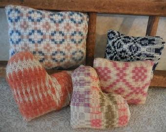 Primitive Vintage Woven Coverlets Bowl Filler Tucks Scrappy Ornaments