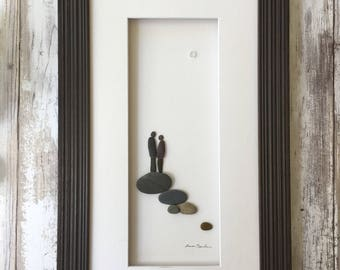 Original pebble art 8 by 15 couple wall art by sharon nowlan available Framed or Unframed