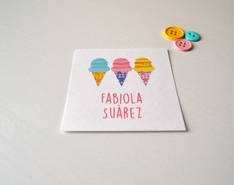 Personalized Gift Cards - Girl Calling Cards - Ice Cream Cone Gift Tag - PDF File