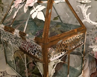 Large Farmhouse, French, grey and multi colored distressed rusty metal and glass terrarium.