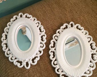 2 Vintage framed mirror,  shabby chic baby girl accent mirrors