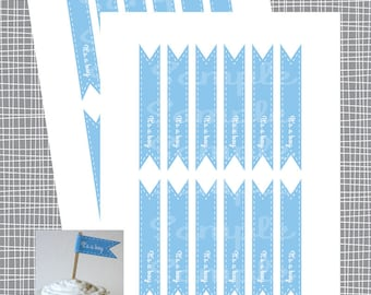INSTANT DOWNLOAD It's A Boy Straw Flags- Baby Shower Toppers - DIY Printable File (Not a Physical Item)