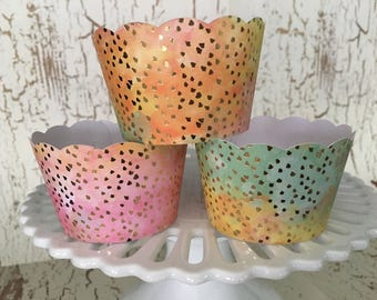 Watercolor with Gold Cupcake Wrappers