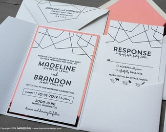 Copper Fragment Modern Lines Wedding Invitation Sample | Flat or Pocket Fold Style