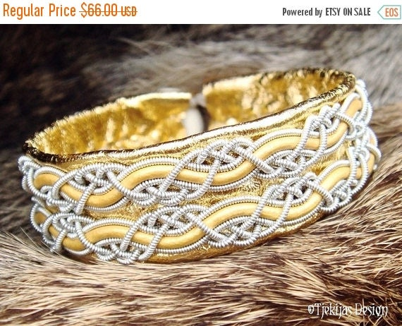 MUNINN Swedish Sami Bracelet Norse Mythology Viking Bracelet Cuff in Gold Reindeer Leather with Pewter Braids - Handmade Natural Elegance