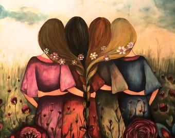 The four sisters best friends brisdemaid present  art print