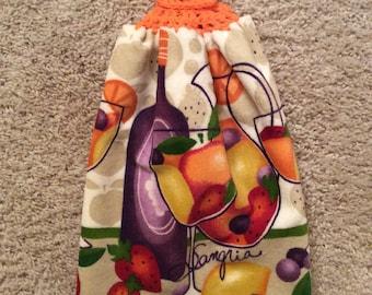 Crochet Top Towel - Wine - Wine Glass - Sangria - Hanging Kitchen Towel - Double and Reversible