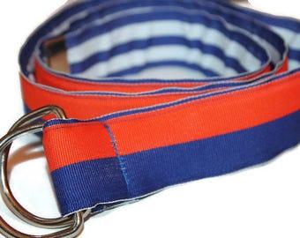 Reversible Ribbon Belt Blue and Orange Belt Nautical Belt Orange and Blue D ring Belt Cinch Belt Summer BElt Preppy D Ring Belt Fabric Belt