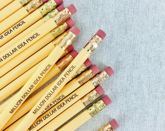 million dollar idea Pencil set of engraved pencils in buttercream. full of inspired ideas!