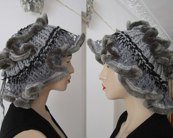 Grey Hat, Grey Neck warmer, Fancy Hat, Ruffled Hat, curly Hat, frilly Hat, Women's Knit Hat And Cowl In One With Curly In GREY Lace Acrylic