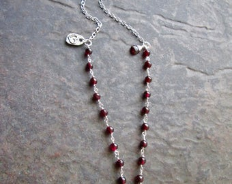 "Extra Long Garnet Rosary Style necklace with Garnet Briolette and Heart Charm 30"" with 3"" extender chain Boho Chic"