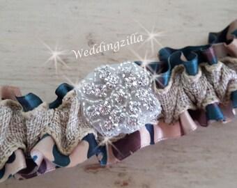 Rustic Bridal Garter,  Burlap Garter, Camo Wedding Garter, Camouflage and Burlap  Wedding Garter,  Wedding Garter Belt, Rustic Wedding, Camo