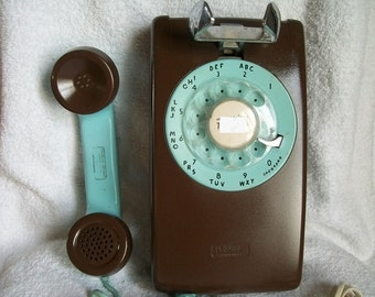 Vintage Working NE 554 1964 Wall Telephone Up-cycled Painted Teal & Brown
