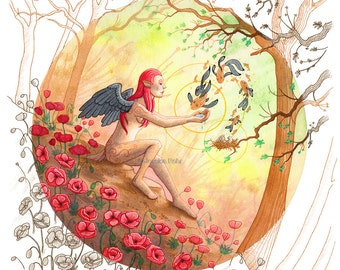 Original Fantasy Art- The Gift of Tears - Watercolor and Ink Painting by Jessica Rohr - Fantasy Surreal Angel Art
