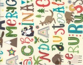 Children's Alphabet and Animal Fabric - Hello World by Abi Hall from Moda - 1 Yard