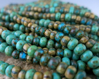 4/0 Aged  Azul Turquoise Picasso Mix, Full Strand 150 Beads, Czech Glass 5mm Seed Beads, 1mm Hole #BWHMX