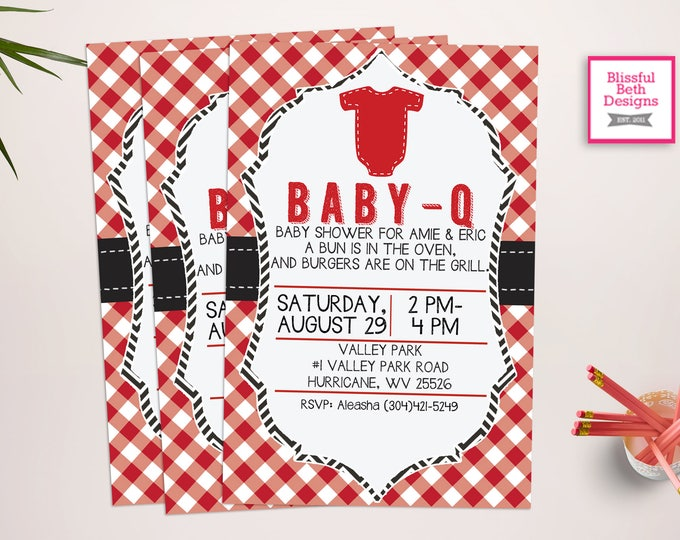 BABY-Q Shower Invitation Bun in the Oven, Burgers on the Grill Baby-Q Printable Invitation, Baby-Q Invite, BABY-Q Invite, BABY-Q Invitation