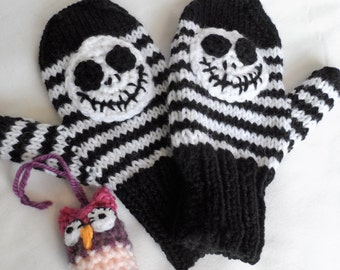 Hand Knitted Mitts Mittens Gloves, Nightmare Skellington Scull, Black & White Stripes Winter Warmer