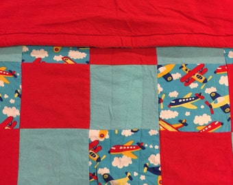 READY TO SHIP- Airplane Quilt, Blue, Red, Clouds, Throw, Lap Quilt, Crib Size, Baby, Warm,