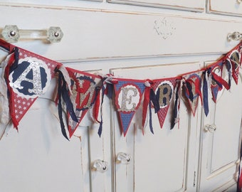 """Patriotic """"AMERICA"""" Banner ~ Memorial Day ~ 4th of July Decoration - Photo Prop ~ Red, White, Blue"""