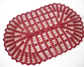 Crochet Table Runner cotton home decor Lace crochet ovall doily New