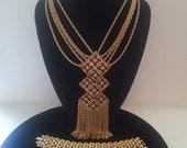 Holiday Sale Vintage Statement Demi Parure, Tassel Fringe Runway Necklace, Red Rhinestone Necklace Bracelet Earring Set, 60's Old Hollywood