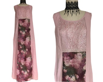 Pink Rose Floral Lace Mauve Grunge Maxi Dress