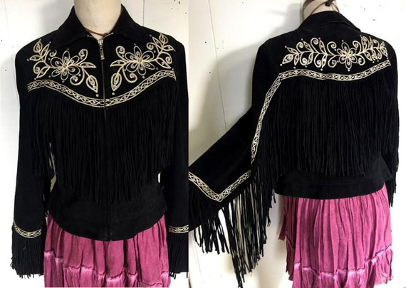Black Leather Biker Fringe Western Embroidered Suede Rhinestone Brocade Jacket