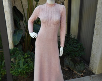 Vintage 1970's Picardo Knits Pink Knit Dress - Size 2