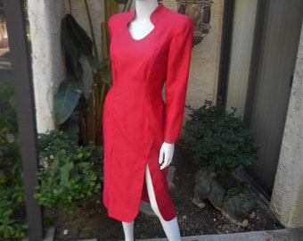 Vintage 1980's Homemade Red Dress - Size 12