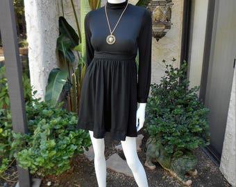 Vintage 1970's Black Dress - Size 2/4