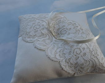 Wedding ring cushion. Champagne satin and lace ring bearer pillow.