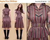 25% OFF 1DAY SALE 70s Vtg Chevron Stripe 2pc Collared Shirt & A Line Midi Skirt Set / Co Ord Matching Belted Set Mod Hippie Boho / Xs