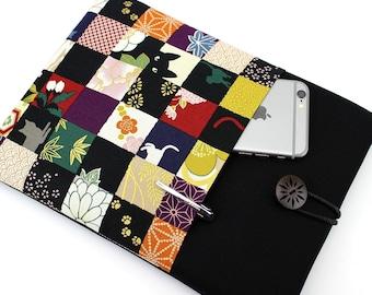 Kobo Aura One Case, iPad Pro Cover, Galaxy Tab A Sleeve, Handmade, Ereaders Accessory,Cat Flowers Black